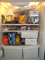 A disorganized fridge