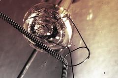 Incandescent bulb filament close-up