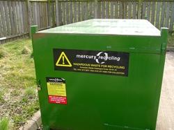 Mercury recycling trash bin
